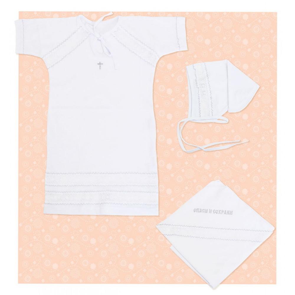 0376 Комплект Крестильный для девочки (пелёнка+платье+косынка)